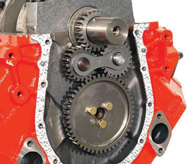 "Fig. 10.34. The use of a gear drive can give that certain ""zing"" to the sound of the engine's valvetrain, but be aware that timing the cam with that gear drive is going to be time consuming because it is limited to offset bushings."