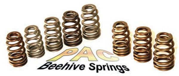 Fig. 10.50. This selection of PAC beehive springs is suitable for a strong street or street/strip build with a fl at or roller hydraulic or a street roller. The part numbers of these springs, left to right, are as per the chart in Figure 10.49 top to bottom from PAC 1220 to PAC 1595. The spring third from left (PN 1255X) and far right (PN 1555) are springs for a really hard-core but truly streetable application, and these should be a serious consideration.