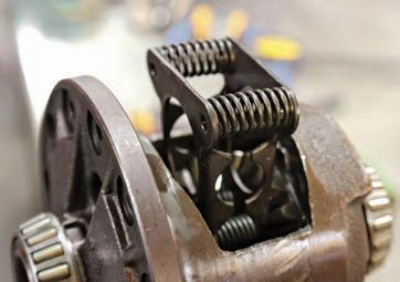 The spring pack is used to keep tension on the clutches. Most GM limited slips use four springs and two plates, but some use an S-spring. You can tune the level of slippage with the springs. Stock Eaton GM limited-slip differentials use 400-pound springs.