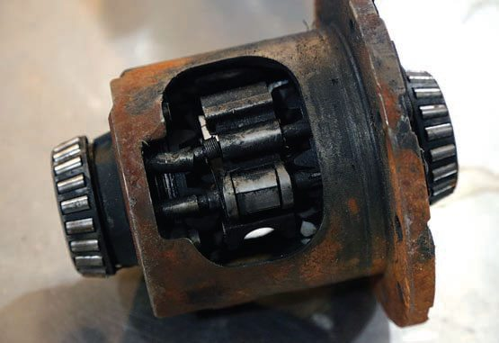 Gov-lock differentials were installed in many late-model GM trucks. Although these are adequate for typical street driving, they are not suitable for high-performance or extreme use, such as hard four-wheeling or straight-line acceleration. If used in this manner, the differential responds like a grenade and it will fail spectacularly. You can see the bent pins on the governor mechanism.