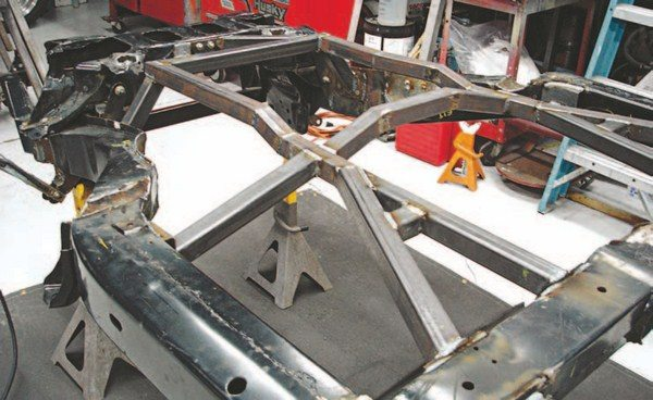 SRIII Motorsports uses 2-inch-diameter tubing for their chassis builds, triangulating the tubing for the main frame rail. The concept is sound and works well with only a few minor annoyances. The multiple tubes make it difficult to fit components in the tight spaces. They build a chassis to your driveline specifications; this project received an LS engine, Tremec T-56 6-speed, and all C4 Corvette suspension. SRIII uses a C4 rack-andpinion with modified tie-rod ends, which are becoming difficult to find. In most cases the original rack-and-pinion must be rebuilt because of the lack of available cores.