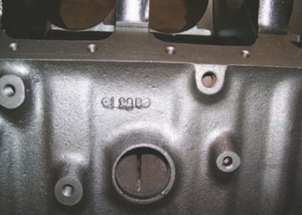 early date codes are found on the side of the block above the oil pan rail or sometimes on the passenger-side rear bellhousing extension (1969–1971). I-22-5 indicates September 22, 1965, on this two-bolt 396 block. (Photo Courtesy Vintage Big Blocks)