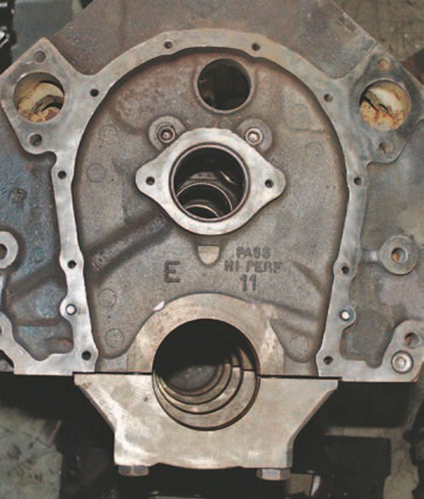 This Mark IV two-bolt block has PASS HI PeRF cast into the front of the block proving that PASS and HI PeRF are not reliable indicators of a four-bolt block.