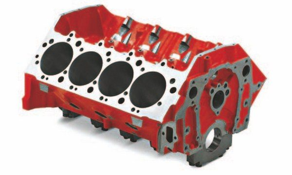 Tall-deck Bowtie Sportsman blocks are powdercoated orange and come with either one- or two-piece rear seals. They have CNC-machined surfaces and offer a maximum bore size of 4.600 inches. These blocks are used to build Chevrolet's 572 stroker engines. (Photo Courtesy Scoggin-Dickey Parts Center)