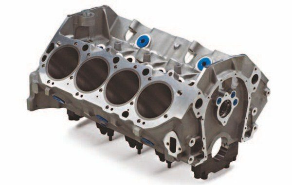 The new ZL1 block offers a maximum bore size of 4.300 inches and accepts a maximum stroke of 4.375 inches. It retains the two-piece rear seal and Mark IV timing cover. It also incorporates provisions to accept hydraulic roller cams. (Photo Courtesy Scoggin-Dickey Parts Center)