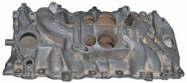 Most big-block intake manifolds were made of cast iron with oval-shaped intake ports. The majority of them have carburetor flanges configured to accept spread-bore Rochester Quadrajet carburetors. (Photo Courtesy Vintage Big Blocks)