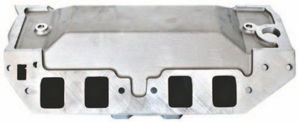 High-end racing 4-barrel intakes for big-blocks normally incorporate a spreadport design that separates the traditional siamesed ports found on stock big-blocks. This is a Dart spread-port manifold.