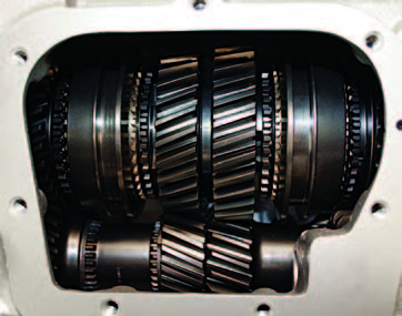 """This is the current Muncie M22. Your can see that the layout of the geartrain is identical to the ST10's. All gears and synchronizers are in the same position. Notice how the angle of the M22 gears is much straighter than on the ST10. The noise level increased because of this angle, giving the M22 the nickname """"RockCrusher."""""""