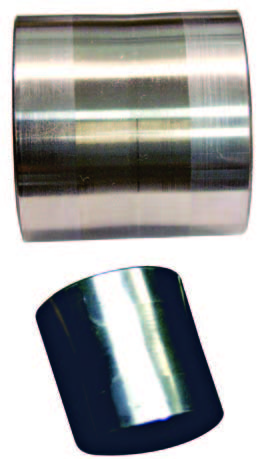 The standard first-gear sleeve is on the top and the sleeve for the M22 is on the bottom (GM PN 3932228). It has flats ground into it to promote better oiling so that first gear does not seize to it. In road-racing applications, when you are in fourth gear doing more than 100 mph, first gear is spinning on the mainshaft at more that twice the mainshaft's RPM. This is one of those undocumented parts that is not listed in all the parts books but takes some digging to find. Later you could get a roller bearing M22 firstgear assembly directly from Chevrolet (GM PN 3965752). The roller first gear was designed to prevent gear seizures in high-speed road-race conditions.