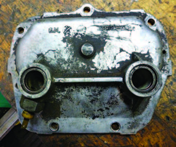 This is a typical transmission controlled spark (TCS) sidecover. The switch is in great shape. Some switches have a bayonet end (shown), and later ones have a pin-type male connector.
