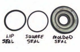 Several different types of seals are used on apply pistons. The most effective and easy to install are the molded pistons (right). Many latemodel transmissions adapted molded pistons where the seals are a permanent part of the piston. This requires replacing the entire part during rebuilding, in order to renew the seal material. Lip-type seals (left) are also very common and very effective at sealing off incoming transmission fluid. The pressurized fluid forces the lip seals tightly against the housing as the piston is applied. Square-cut seals (middle) are also used and relatively easy to install. They are typically used where access to the apply piston is limited. This makes the piston easy to install into the case without special tools or procedures.