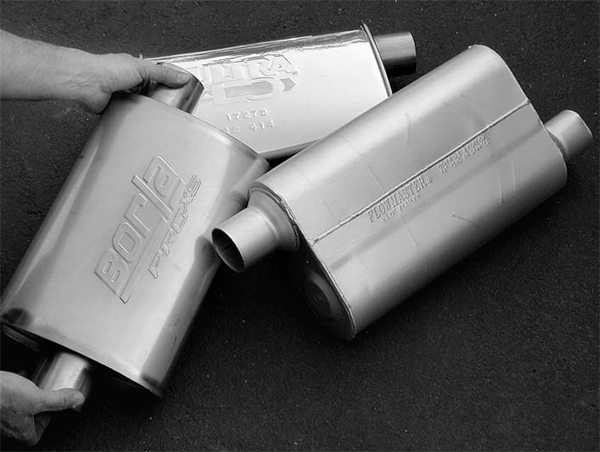 Keep in mind that any change to your exhaust system can and usually does have an effect on cam timing. A more efficient exhaust system starts with a good muffler that reduces backpressure to a minimum.
