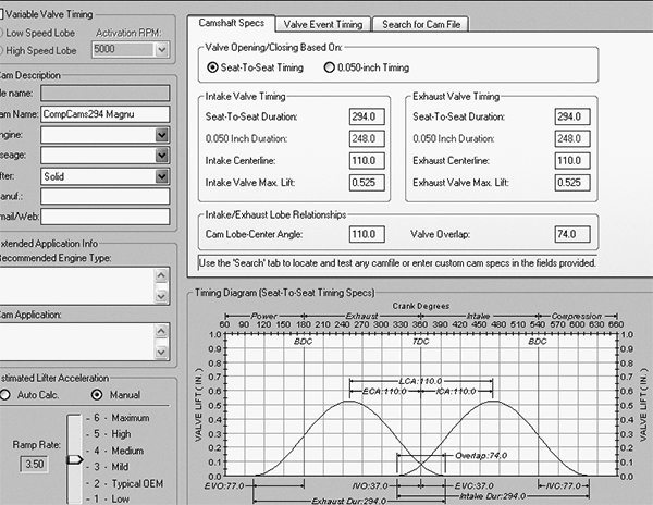 One interesting aspect of the new, redesigned Dynomation program is the Cam Manager section that allows you to either spec an existing camshaft or design your own cam. One trick portion of this section is the scale that changes the ramp rate. This doesn't change the lift or duration, but as ramp rate increases, the area under the curve increases dramatically. Of course, this faster ramp rate is much harsher on the valvetrain.