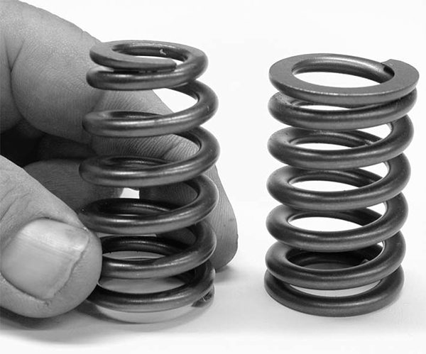 Weight is a big consideration with the new design beehive or conical spring that reduces spring weight at the top of the spring, while also reducing retainer weight. This allows the spring to use more of its load to control the valve.