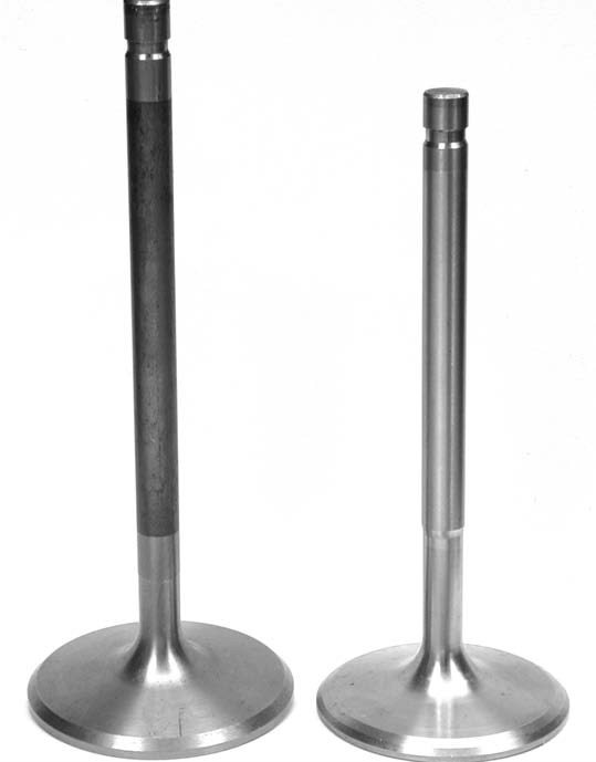 Taller valve angles also require longer intake valves than a typical 23-degree head because of the greater port height and also to create sufficient room for increased valve lift.