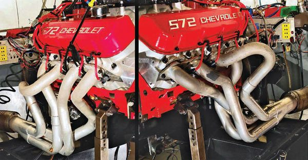 Fig. 12.2. Space, or the lack of it, such as chassis member clearance, can often heavily influence primary header lengths. This leads to big length differentials between the shortest and longest pipes. However, this situation is often not as bad as expected. Here, at TWPE, tests are being run on the effect of uneven-length headers on a 572. The results show that header-flow dynamics are far more complex than commonly believed, and there is still much to learn.