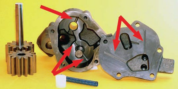 "Fig. 3.4. Moroso takes the stock Melling pump and makes several modifications to it. The most noticeable are the ""anti-chatter"" grooves indicated here. This pump comes with an all-steel driveshaft and three pressure-relief springs. It is affordable and used by many pro engine builders."