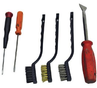 A gasket scraper, small screwdriver, and wire brushes also help with case cleaning. They help remove really stubborn deposits such as undercoating and road tar that the transmission has encountered through years of service.