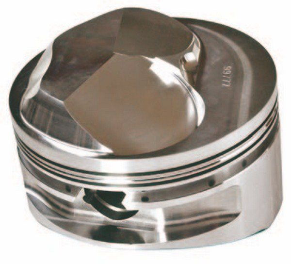Mark IV heads typically require tall-dome pistons such as this Ross racing piston confi gured to fi t open-chamber applications. In every case the piston crown must match the chamber shape to avoid interference.