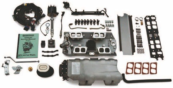 If you choose PN 12499249 you get the complete Ram Jet Fuel Injection Kit with MEFI-4 Electronics; it is a retrofit fuel injection kit calibrated for a 502/502 Chevrolet Performance engine. This is the same fuel injection used on the Ram Jet 502 PN 12499121. It can be used on other big-block applications by replacing the ECU unit with an aftermarket unit with the proper calibration. (Photo Courtesy Scoggin-Dickey Parts Center)