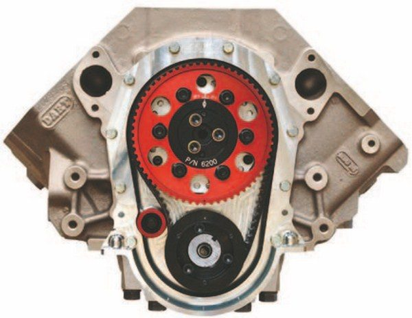 Belt drives are the top-of-the-line in timing devices for big-block Chevys. This Comp Cams unit features an idler pulley to maintain proper belt tension. Belt drives provide rock-steady timing. They are durable, but most racers change them on each rebuild.