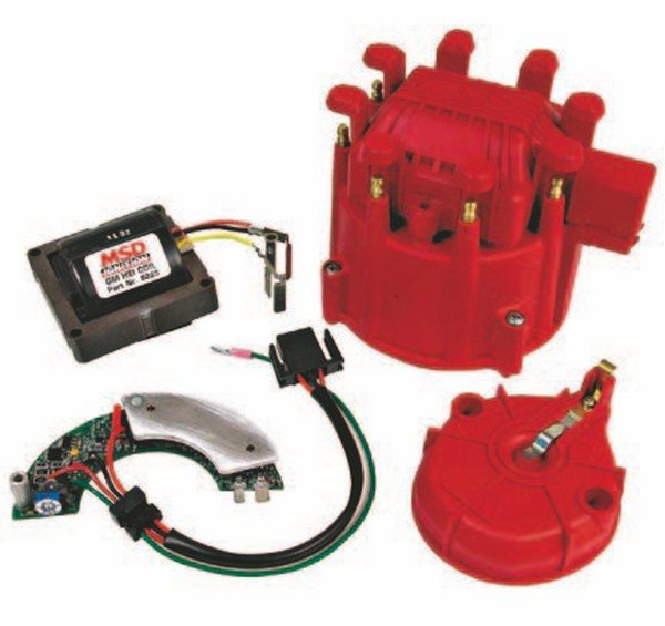 All factory HEI distributors, including talldeck housings, can be upgraded with MSD's ultimate HEI Kit that includes the HEAT digital ignition module, coil, heavy-duty cap, and rotor and coil cover. (Photo Courtesy Autotronic Controls)