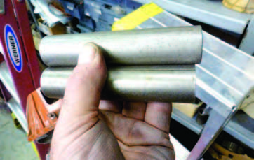These spacer tubes go inside the countergear. The upper tube has no seam but the lower one does. Because the needle bearings ride against the seam, extra spacer rings are needed to cover the seam. Typically, the seamless spacer had four needle-spacer rings. The seamed spacer tube used six. Most of the later GM overhaul shop manuals show four spacers in the exploded-view diagrams when, in fact, the transmissions used six.