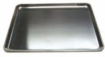 Large commercial baking pans keep parts on the bench from rolling onto the floor. They also hold any fluid that drains from the parts when they are removed.