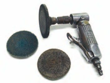 An angle grinder equipped with abrasive disks is one of the best inventions of modern times for cleaning stubborn gaskets from machined surfaces. The disks are available in several different materials so they do not damage the soft aluminum surfaces.