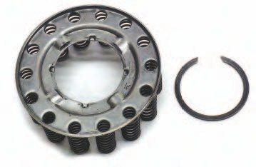 A spring cage is used to keep the apply piston away from the clutch pack. When pressurized transmission fluid is routed behind the apply piston, it moves toward the spring cage (overcoming the spring pressure) and forces the clutches and steels tightly together. The moment the pressure is released, the spring cage pushes the apply piston away from the compressed clutch pack.