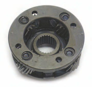 Planetary gearsets are used in automatic transmissions to provide various gear ratios. The center (or sun) gear is meshed with planetary gears held in a carrier. These are also in mesh with an outer gear or carrier. Any of the three parts can be held or driven to provide different gear ratios and/or functions. If the outer ring gear is held stationary and the sun gear is driven, the planetary gears rotate around the sun gear and rotate the planet carrier in the same direction as the sun gear, but at a slower RPM. This provides gear reduction. Holding the sun gear and rotating the ring gear results in the planetary gears rotating around the sun gear, but with less gear reduction. Holding the sun gear and rotating the planet carrier results in the ring gear turning with gear reduction in the opposite direction (reverse). Direct drive (a 1:1 input/output ratio) is achieved by locking any two elements of the planetary gear set at the same time.