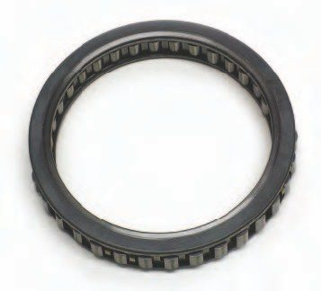 A sprag-type clutch operates in a manner very similar to the roller-type clutch. It uses dog-bone-shaped internal components instead of rollers. Both the inner and outer races are smooth, and there are no notched areas as found in a roller-style clutch. The internal elements are long enough and shaped so that one race can turn independently from another in one direction. When turned in the opposite direction, the unit locks solidly. Multiple-element sprag assemblies, such as the 34-element intermediate TH400 sprag shown, are considered to be a high-performance upgrade over the roller-style clutch typically used in that location.