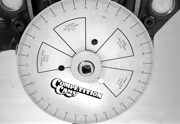 Degree wheels come in many different face configurations. Some merely indicate a 360degree sweep, or perhaps a 0-180-0 version. This COMP Cams degree wheel indicates all four of the major valve events on the degree wheel to help you visualize what's happening.