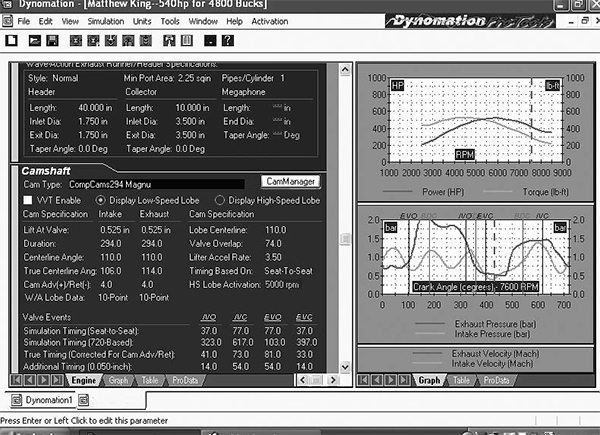 If you're really into camshafts and optimizing camshaft performance with a given engine, it might be worthwhile to invest in the Dynomation computer engine simulation program. This program employs wave-tuning effects to help predict engine performance based on these characteristics.