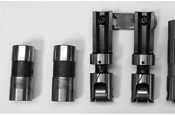 Lifters come in several variations. On the far left is a mechanical flat tappet, next is a flat tappet hydraulic lifter, next is an aftermarket mechanical roller tappet, followed by an aftermarket hydraulic roller, and finally on the far right is a factory hydraulic roller follower.