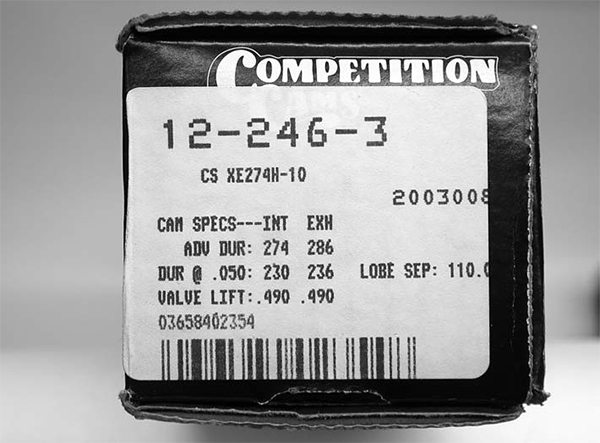 COMP has started placing actual cam specs with advertised duration, duration at 0.050, valve lift, lobe separation angle, grind number, and part number on the end of its cam box. This way, if you have multiple cams sitting on the shelf, you don't have to look up the part number to get the cam specs.