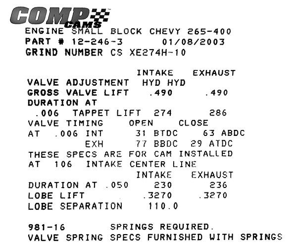 All cams include a timing card. This card reveals the basic information you need to identify, properly install, and degree the camshaft in the engine. This is a COMP Cams timing card. If you happen to misplace your card, most cam companies now list all off-the-shelf cam cards on their website that you can easily print out.